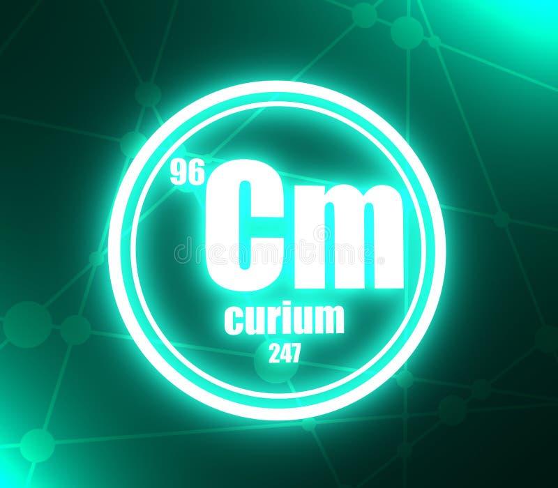 Elemento chimico del curio illustrazione di stock