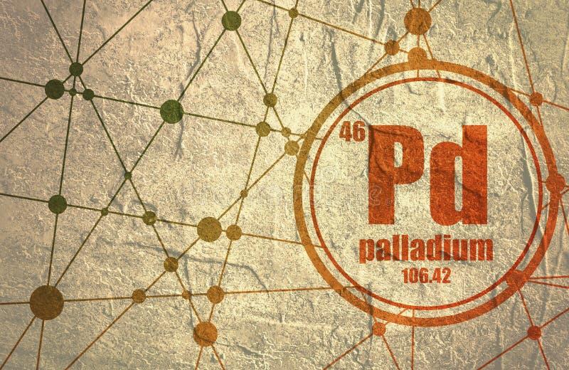Elemento chimico del palladio illustrazione vettoriale