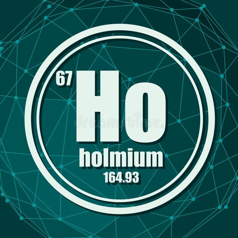 Elemento chimico dell'olmio illustrazione di stock