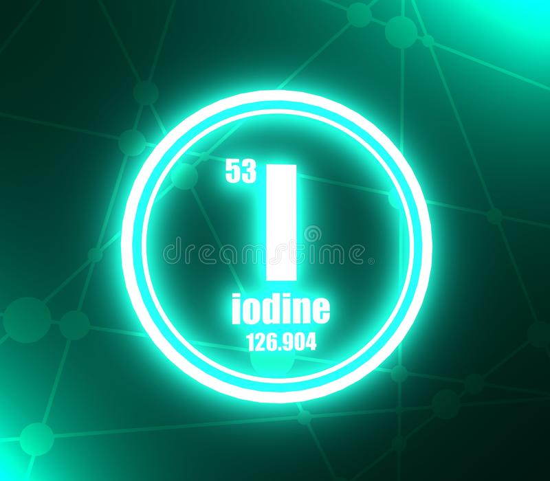 Elemento chimico dello iodio illustrazione di stock