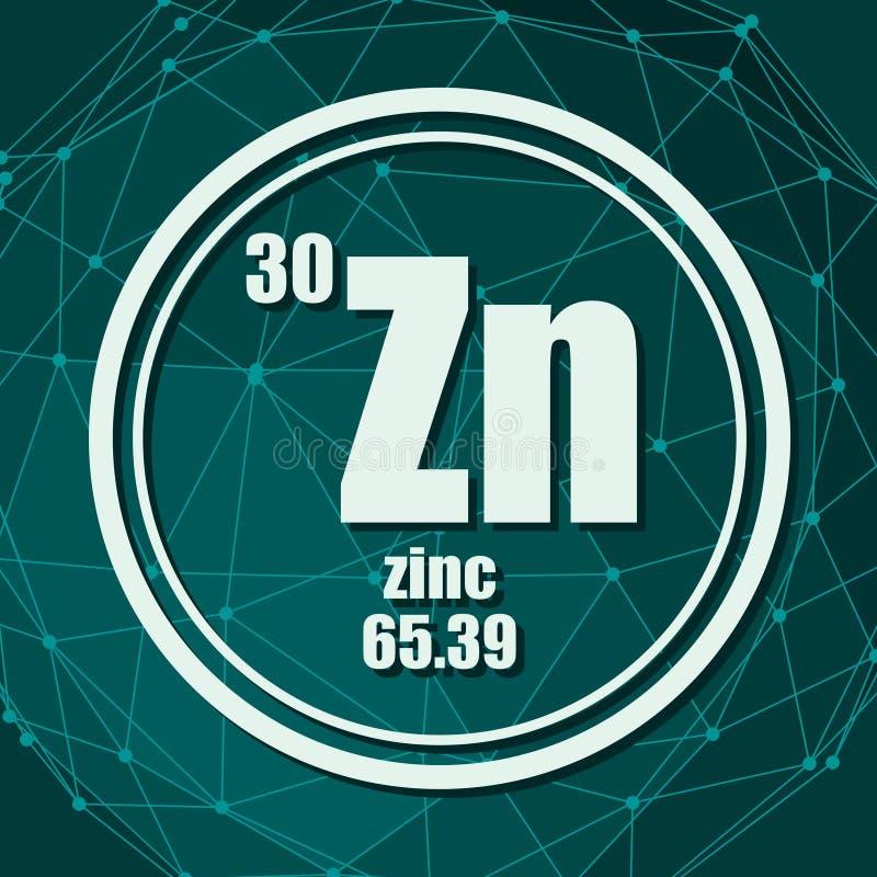 Elemento chimico dello zinco illustrazione di stock