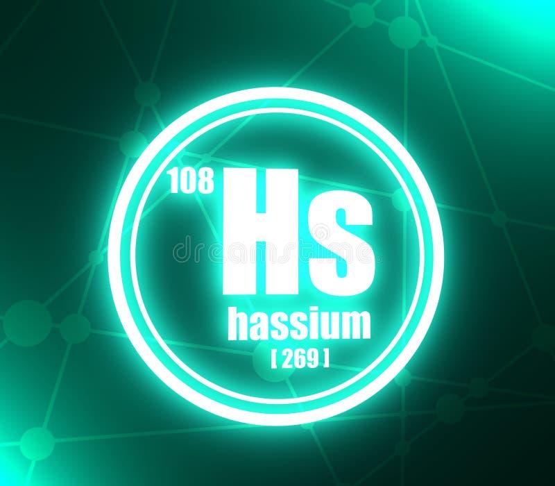 Elemento chimico di hassio illustrazione vettoriale