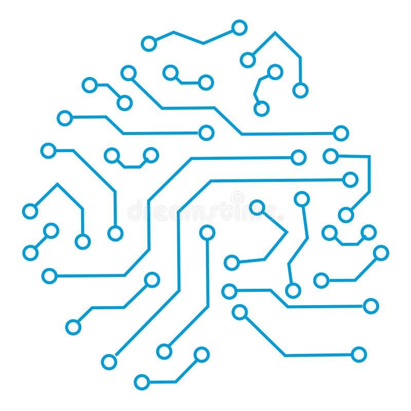 Elemento cibernético de la comunicación de la tecnología Ejemplo del extracto del vector de la placa de circuito aislado en el fo ilustración del vector