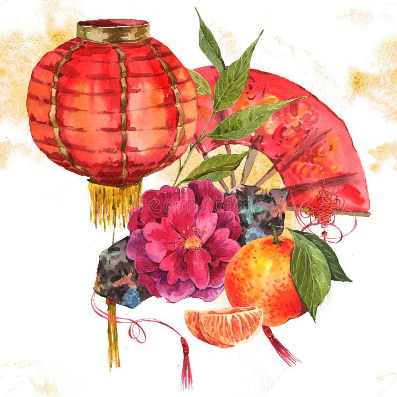 Elemento cinese del nuovo anno del fondo dell'acquerello illustrazione vettoriale