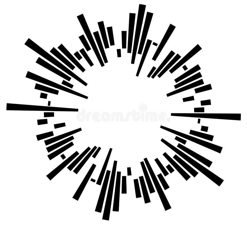 Elemento circolare geometrico con le linee radiali irregolari, barre Ri royalty illustrazione gratis