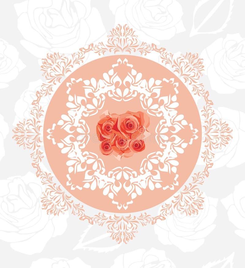 Elemento circolare ornamentale con le rose sui precedenti floreali senza cuciture royalty illustrazione gratis
