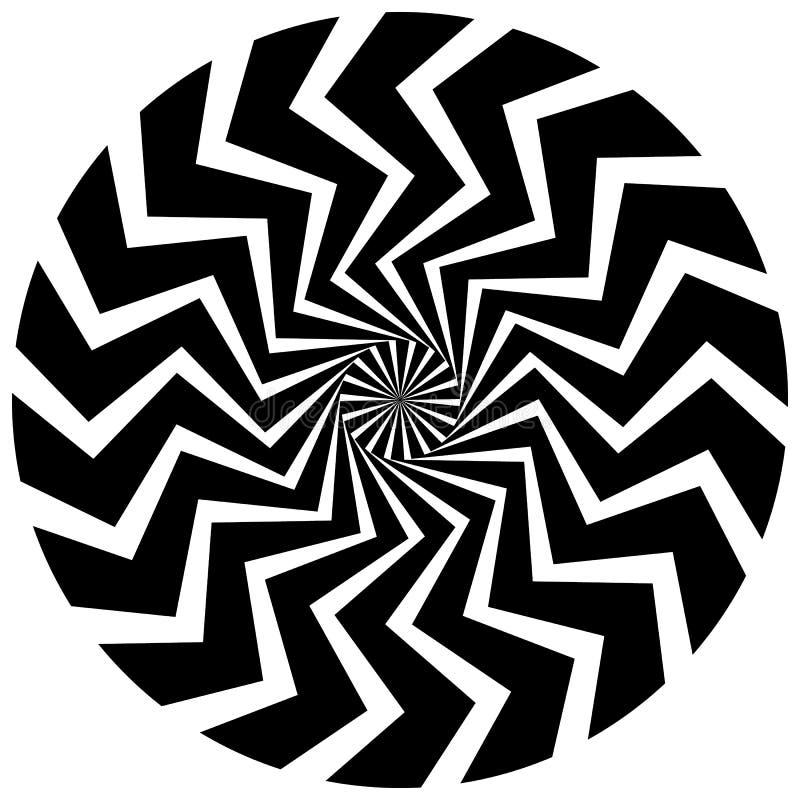Elemento circular abstrato Linhas radiais de giro com efeito ondulado ilustração stock