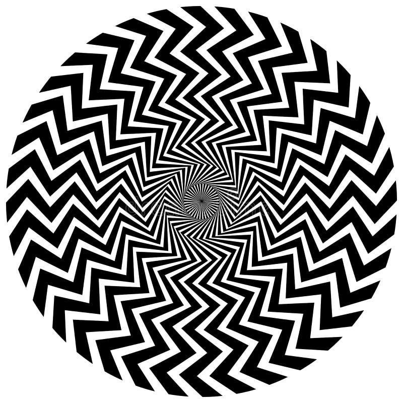 Elemento circular abstrato Linhas radiais de giro com efeito ondulado ilustração do vetor