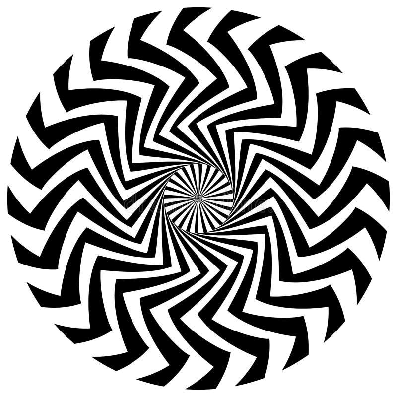 Elemento circular abstrato Linhas radiais de giro com efeito ondulado ilustração royalty free