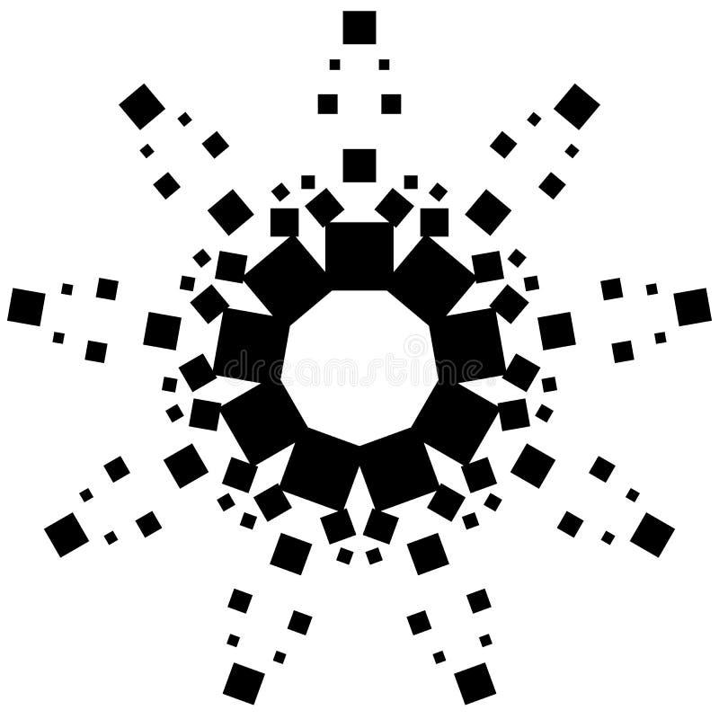 Elemento circular feito dos quadrados Quadrados que giram Segunda-feira abstrata ilustração stock