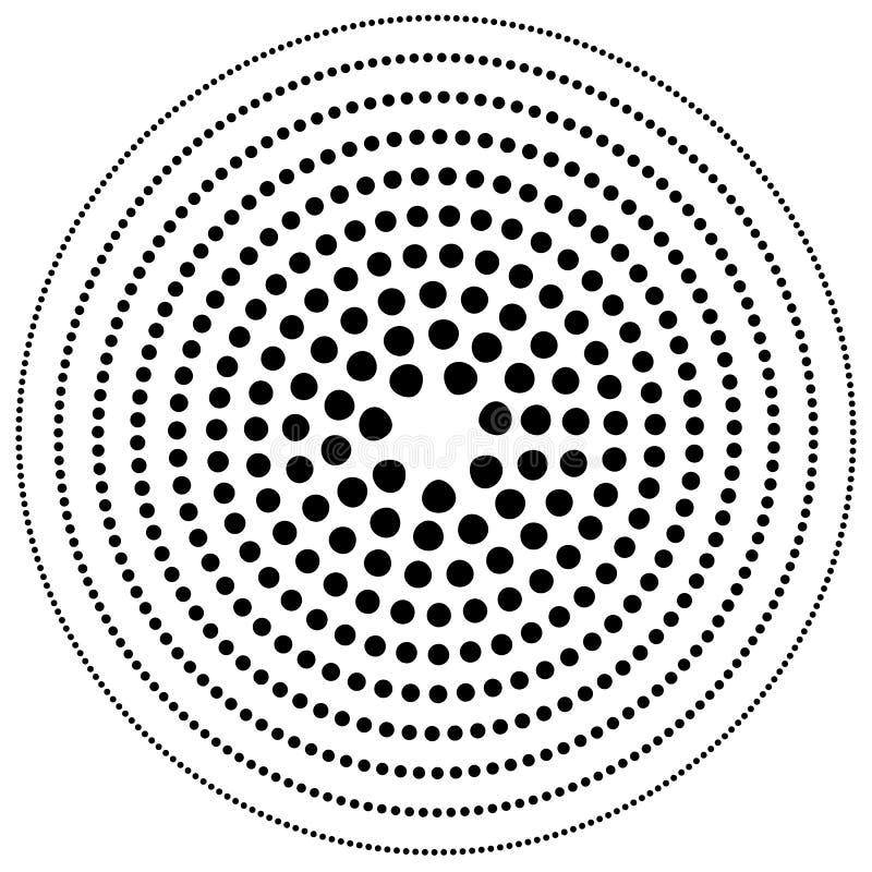 Elemento circular pontilhado Illustrati preto e branco de Mononochrome ilustração royalty free