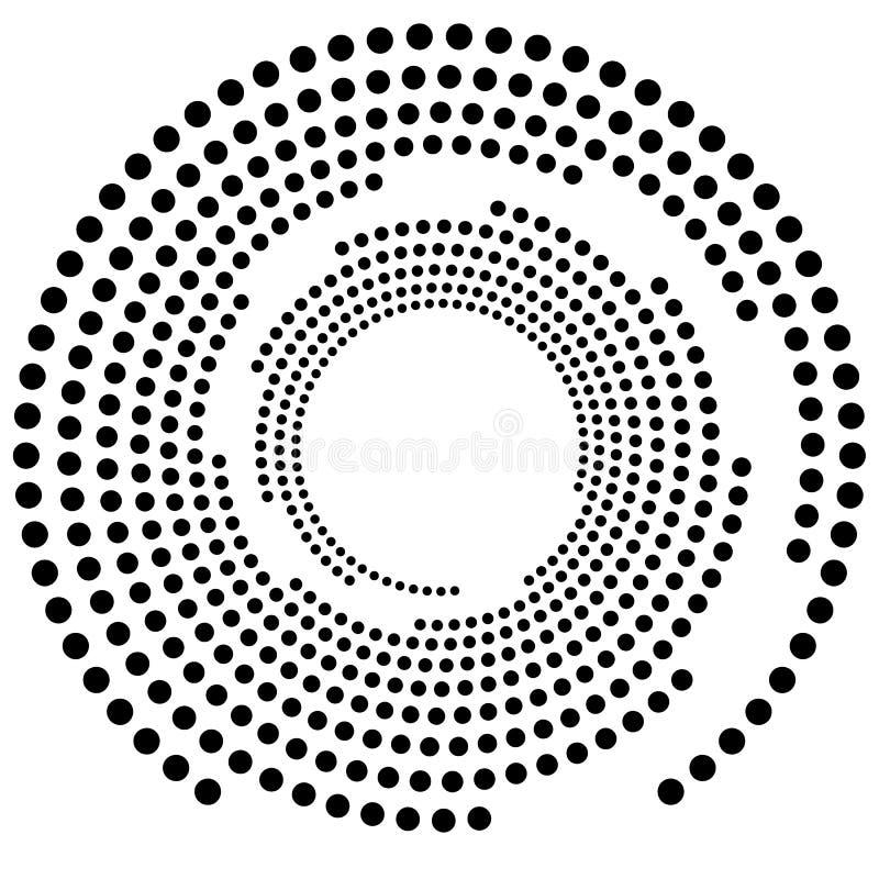 Elemento circular pontilhado Illustrati preto e branco de Mononochrome ilustração do vetor