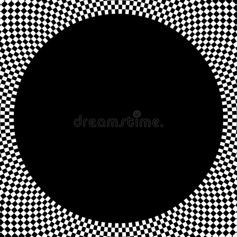 Elemento circular quadriculado Gráfico monocromático abstrato com squ ilustração royalty free