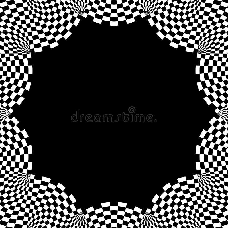 Elemento circular quadriculado Gráfico monocromático abstrato com squ ilustração stock