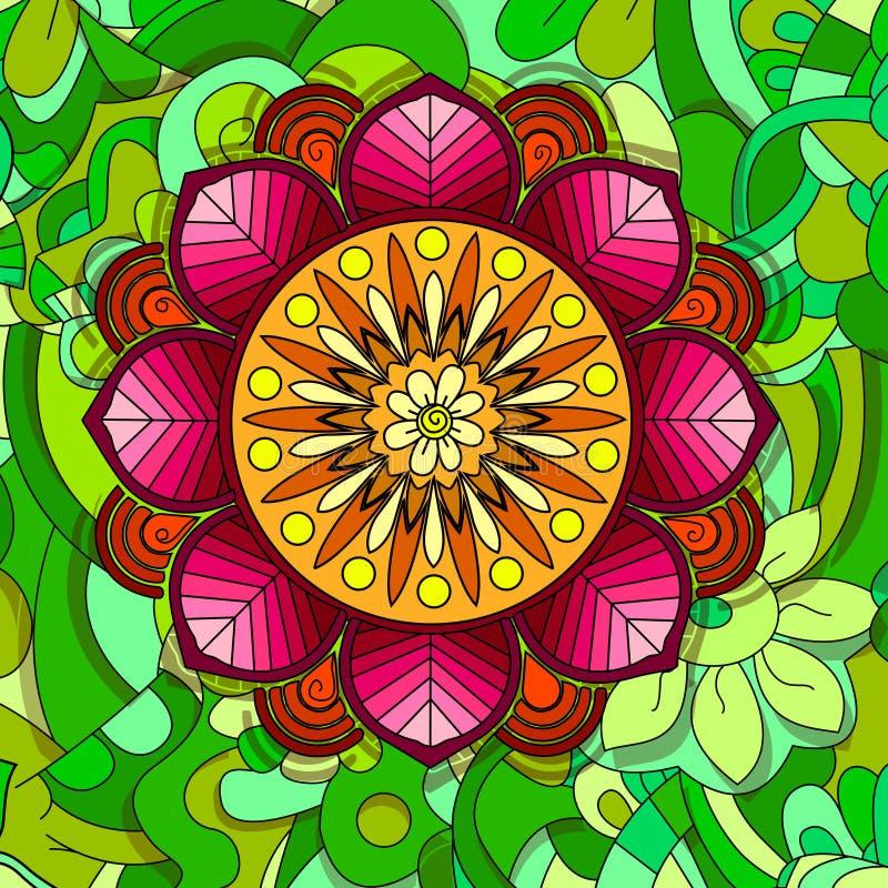 Elemento coloreado del diseño floral en la línea estilo del garabato Composición decorativa con las flores ilustración del vector