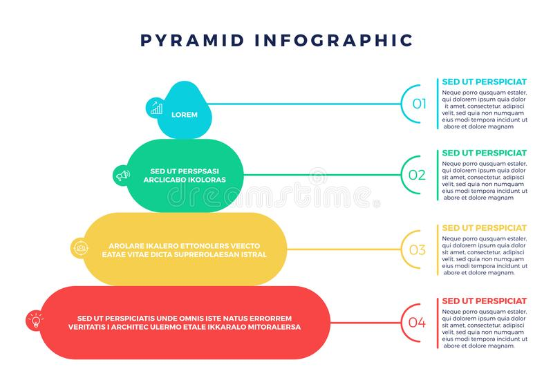 Elemento colorido de Infographic de la pirámide de la jerarquía ilustración del vector