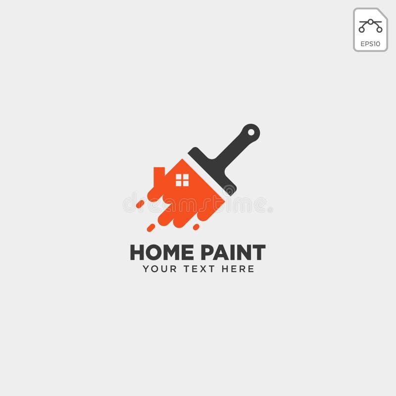 elemento colorido do ícone do vetor do molde do logotipo da escova de pintura da casa ilustração stock