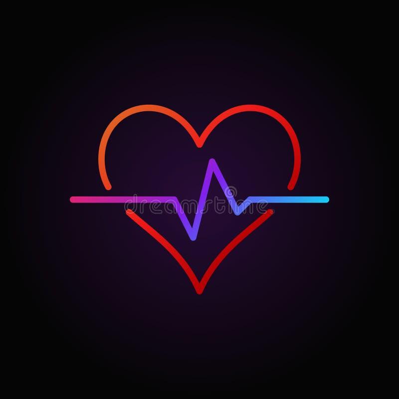 Elemento colorido vetor do ícone ou do projeto do esboço do pulso do coração ilustração royalty free