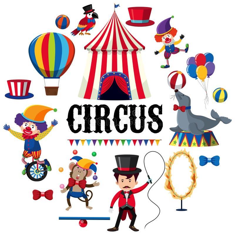 Elemento Colourful del circo su fondo bianco illustrazione di stock