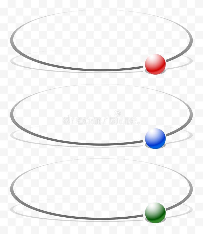 Elemento con la messa in orbita, sfera di circonduzione 3 colori inclusi con illustrazione di stock
