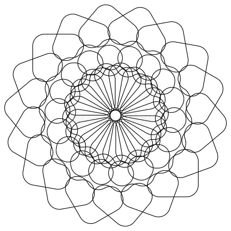 Elemento concêntrico com formas arredondadas Patte geométrico circular ilustração stock