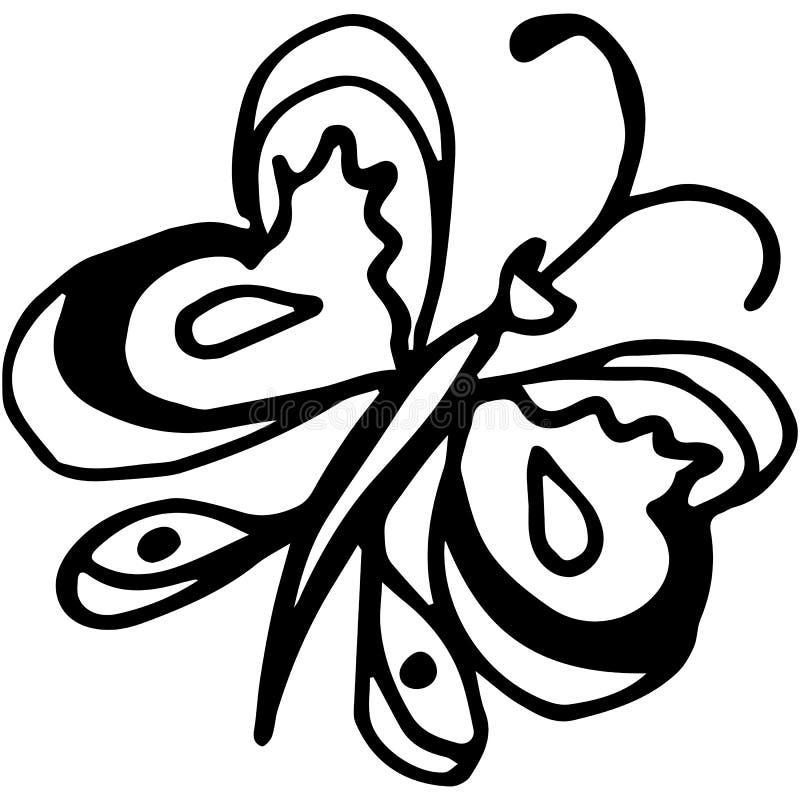 Elemento continuo del dibujo lineal de la mariposa que vuela aislado en el fondo blanco para el logotipo o el elemento decorativo libre illustration