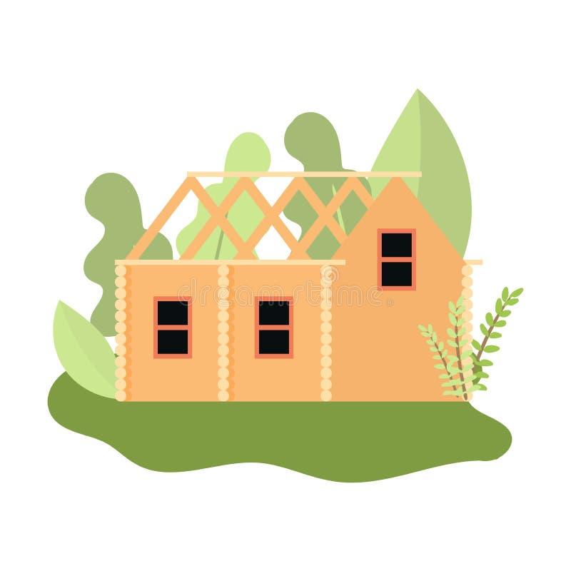 Elemento in costruzione sveglio del tetto della casa di legno illustrazione di stock