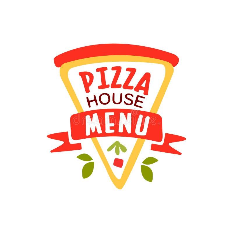 Elemento creativo del diseño de la pizza del logotipo plano de la casa con la rebanada de la pizza Emblema para el menú del café, libre illustration