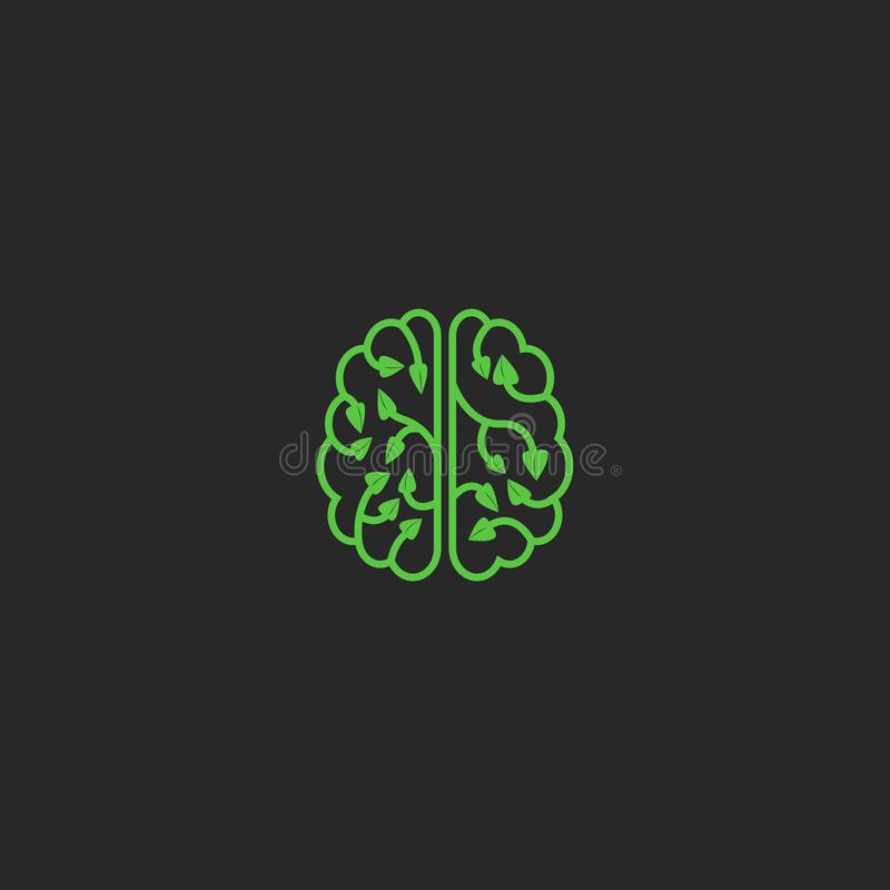 Elemento creativo del diseño del eco del logotipo del cerebro Piense las hojas de la planta del concepto de la ecología de la ide libre illustration
