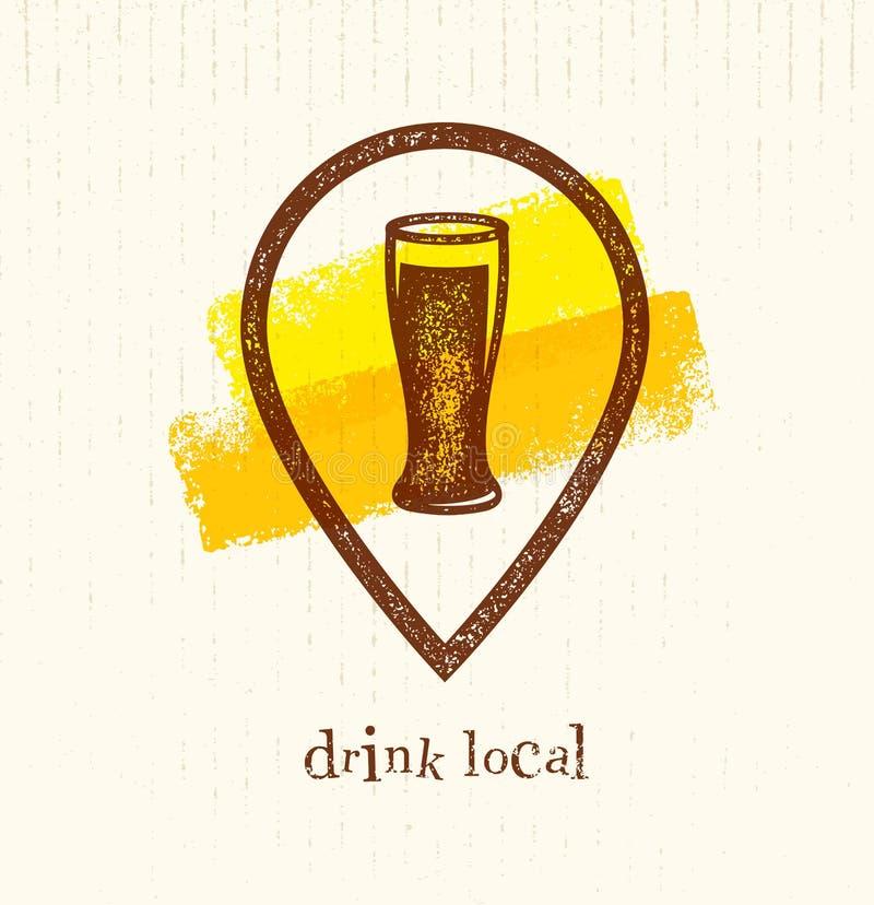 Elemento creativo local del diseño del vector de la bebida Vidrio de cerveza dentro del icono de la ubicación en fondo del cepill ilustración del vector