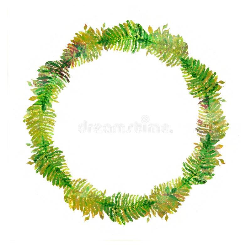 Elemento creativo para el diseño Guirnalda pintada a mano vibrante de la acuarela de hojas verdes marco herbario abstracto Detall foto de archivo