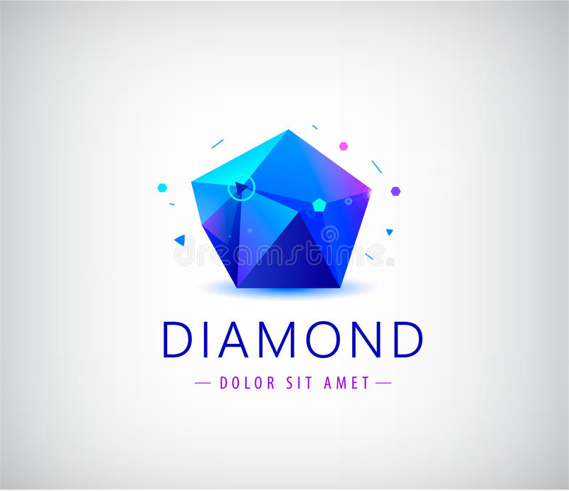 Elemento cristalino del logotipo de la forma de la gema de la faceta plana de moda del diseño libre illustration