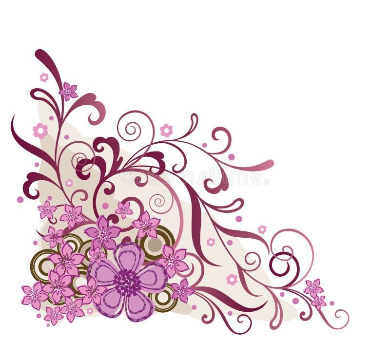 Elemento d'angolo floreale dentellare di disegno illustrazione di stock