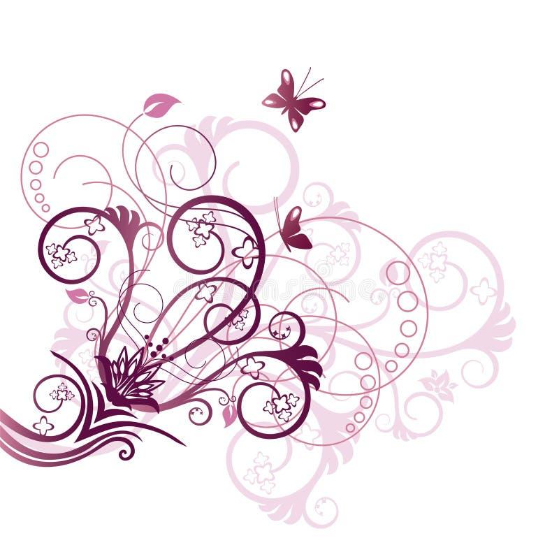 Elemento d'angolo viola di disegno floreale royalty illustrazione gratis