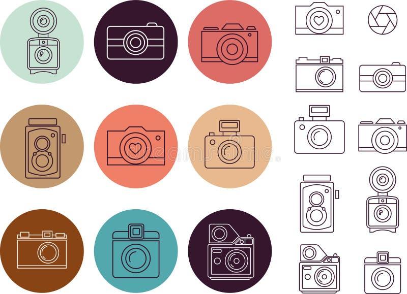 Elemento d'annata della macchina fotografica, insieme dell'icona illustrazione di stock
