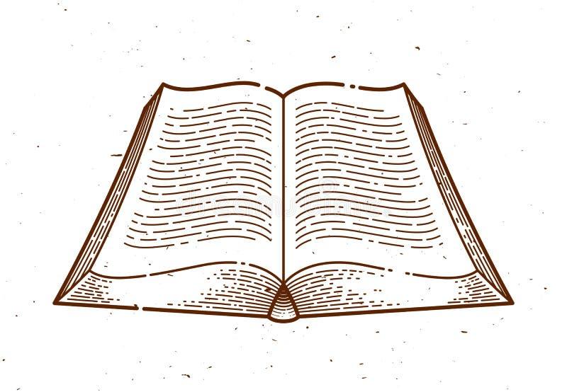 Elemento d'annata di progettazione grafica di vettore del libro aperto illustrazione di stock