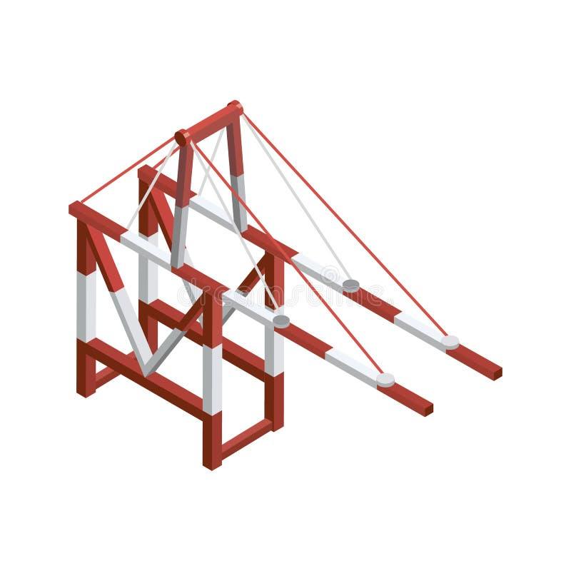 Elemento 3D isométrico do guindaste do porto marítimo ilustração royalty free