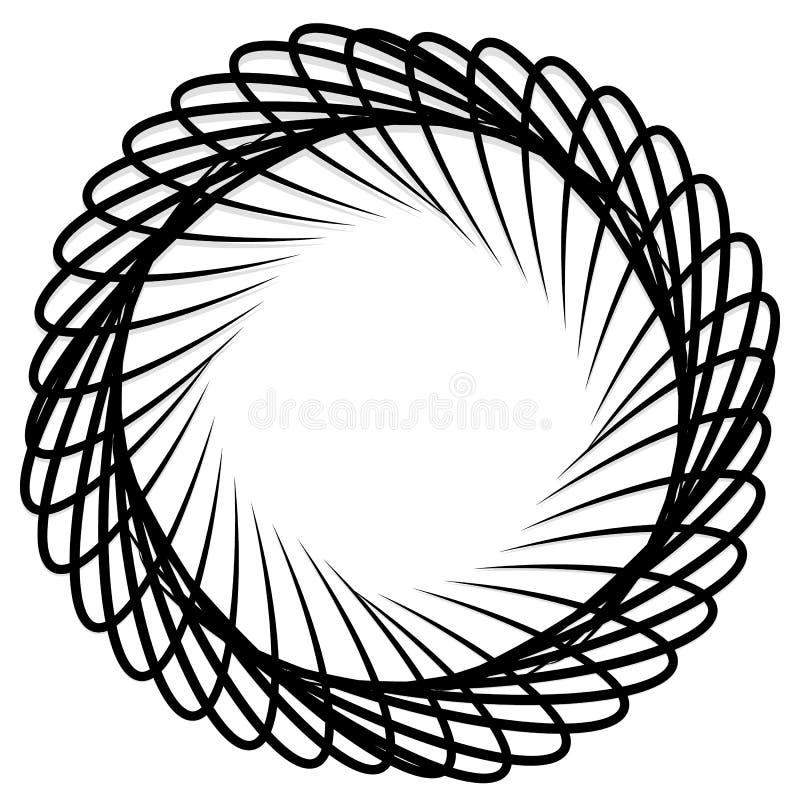 Elemento da espiral/redemoinho Concêntrico, irradiando as linhas GR abstrata ilustração stock