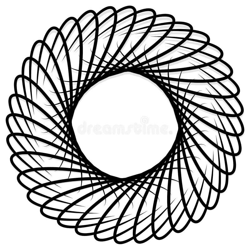 Elemento da espiral/redemoinho Concêntrico, irradiando as linhas GR abstrata ilustração do vetor