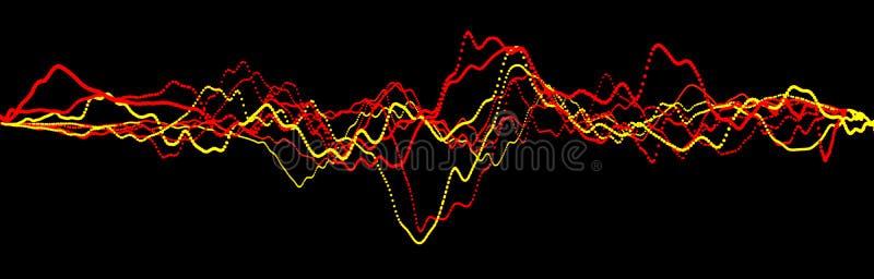 Elemento da onda sadia Equalizador digital do preto do sum?rio Visualiza??o grande dos dados Fluxo claro din?mico rendi??o 3d ilustração do vetor