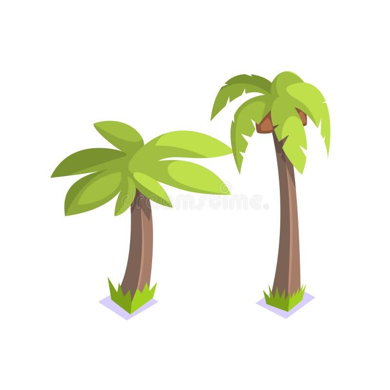 Elemento da paisagem da vila da selva de duas palmeiras ilustração do vetor