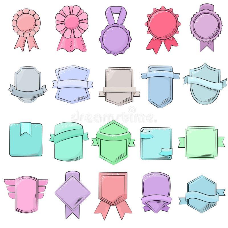 Elemento da qualidade do vetor do crachá para a bandeira ou etiqueta vazia retro para o grupo ribboned ilustração da decoração de ilustração royalty free