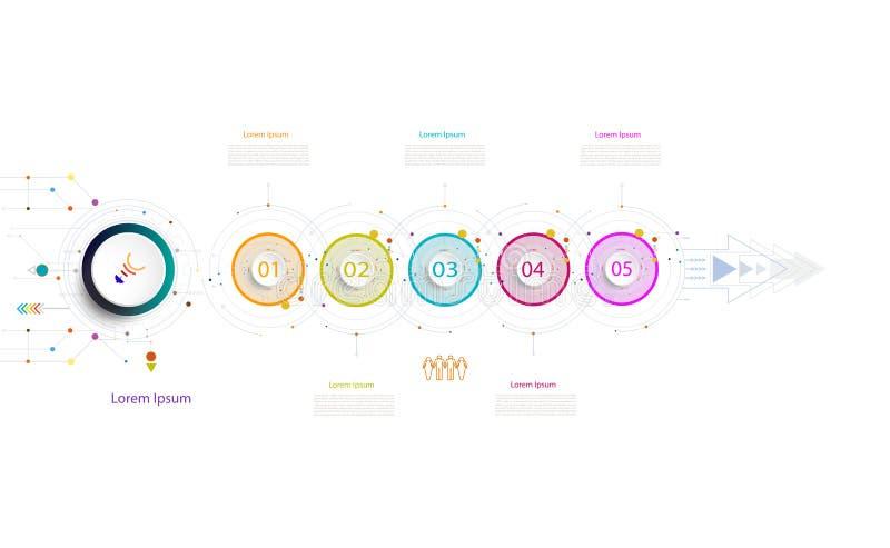 Elemento da tecnologia do espaço temporal do molde do negócio de Infographic com 3 ilustração royalty free
