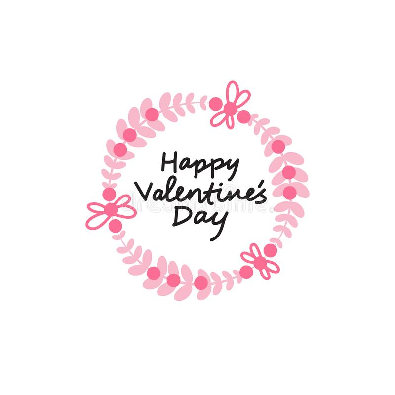 Elemento da tipografia da decoração do cartão do amor do ícone de Valentine Day Label Calligraphic Sticker ilustração stock