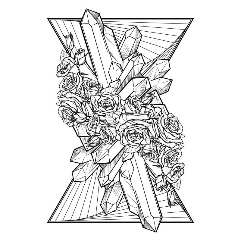 Elemento da vinheta vertical BW da terra ilustração do vetor