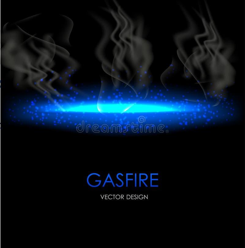 Elemento de destello azul abstracto de la luz y del fuego en fondo transparente oscuro Ilustración del vector stock de ilustración
