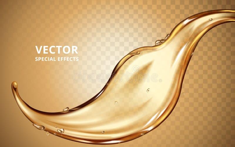 Elemento de fluxo do líquido do ouro ilustração stock