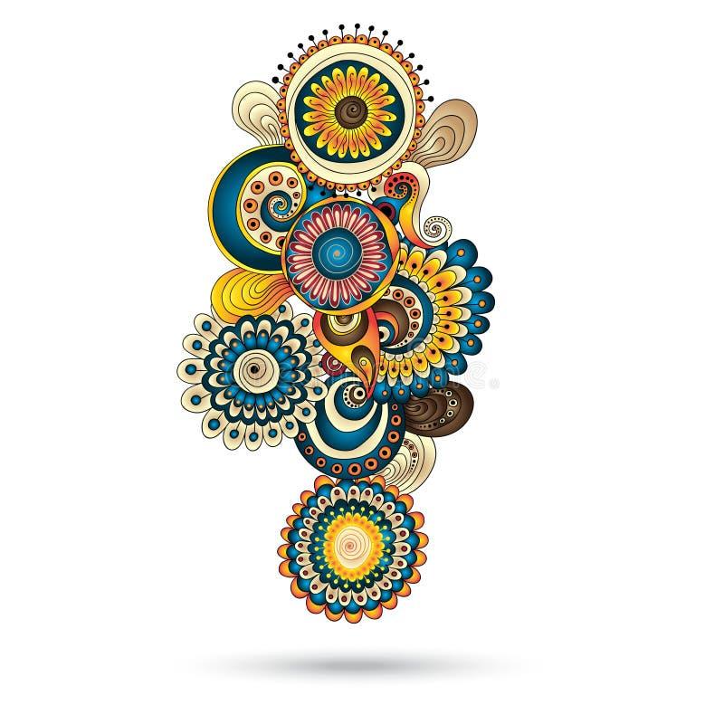Elemento de Henna Paisley Mehndi Doodles Design. ilustração stock