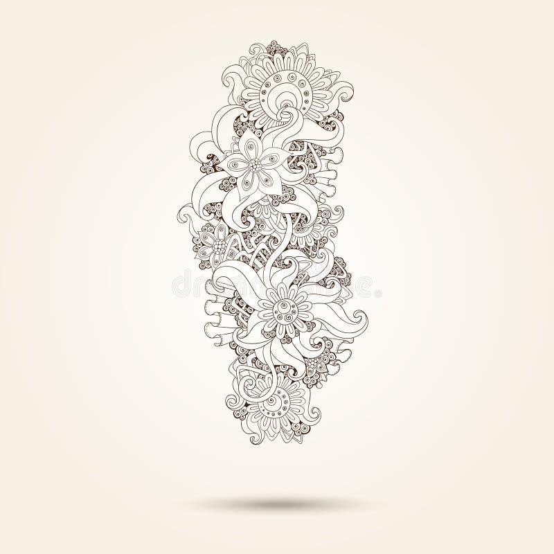 Elemento de Henna Paisley Mehndi Doodles Design. libre illustration