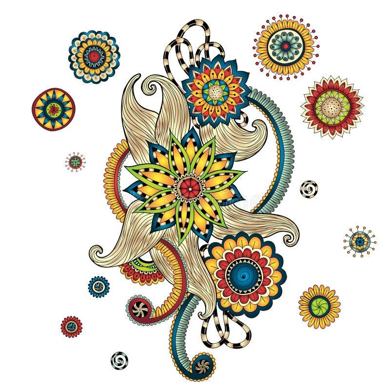 Elemento de Henna Paisley Mehndi Doodles Design ilustração royalty free